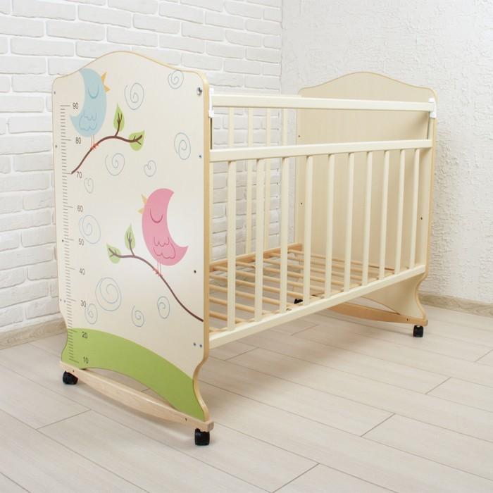 Детская кроватка ВДК Морозко Птички фигурные спинки колесо-качалка
