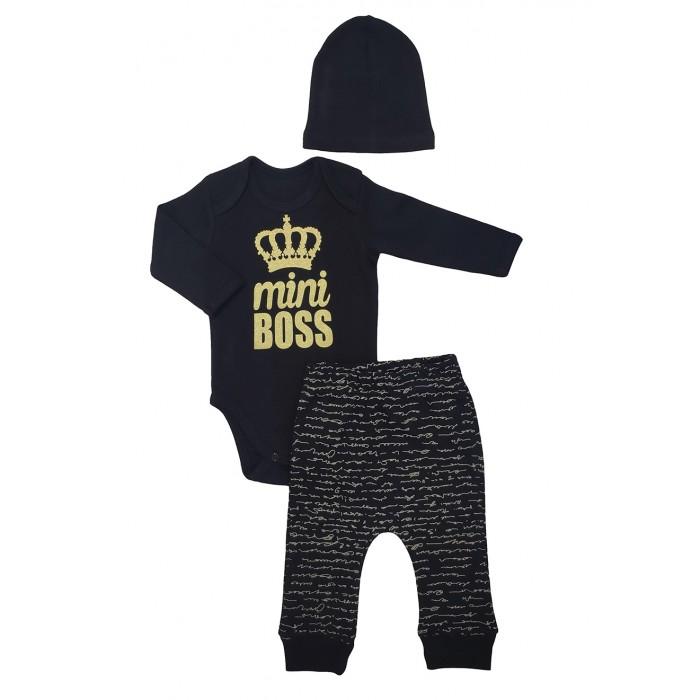 Комплекты детской одежды Veddi Комплект для мальчика (боди, ползунки, шапочка) mini Boss