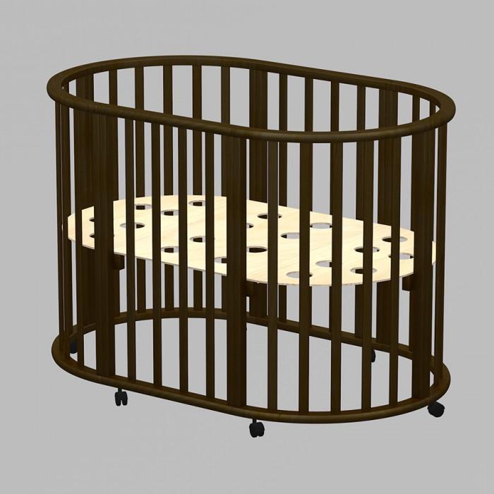Кроватка-трансформер Ведрусс Оливия овальная 3 в 1Кроватки-трансформеры<br>Кровать-трансформер Ведрусс Оливия New овальная 3 в 1 - непревзойденное качество и комфорт с самого рождения!  Нестандартная Кроватка Оливия овальная 3 в 1 может принимать круглую или овальную форму. Она предназначается для малышей в возрасте до трёх лет. Важным плюсом считается то, что спальное дно можно поднимать или опускать. Кроватка оснащена колёсиками, чтобы проще было передвигать её по квартире.  Кроватка Оливия овальная 3 в 1 создана таким образом, чтобы со всех сторон она проветривалась. Даже в ложе имеются специальные вентиляционные отверстия. Вашему ребёночку однозначно полюбится эта модель.  Особенности: Экологически чистые, тщательно отшлифованные материалы, Нетоксичное лако-красочное покрытие, полностью гипоаллергенно, Спальное дно с дырочками для оптимальной вентиляции, Регулировка высоты спального ложа, три уровня, Восемь поворотных колес для удобства уборки и убаюкивания малыша, Трансформируется в диванчик, просторный манеж. Размер круглого подматрасника: 75x75 см Размер овального подматрасника: 125x75 см  К кроватке можно докупить и установить маятниковый механизм (устанавливается вместо колес).