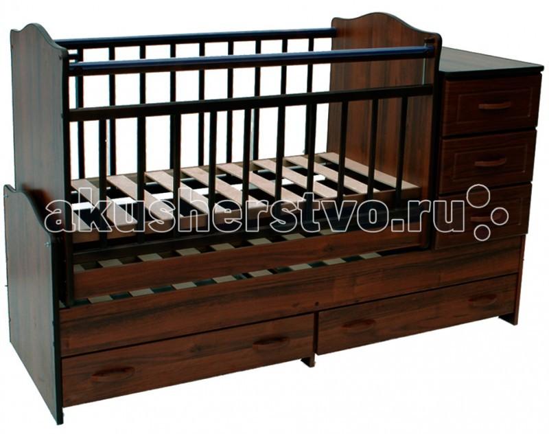 Кроватка-трансформер Ведрусс Раиса с комодом маятник поперечный