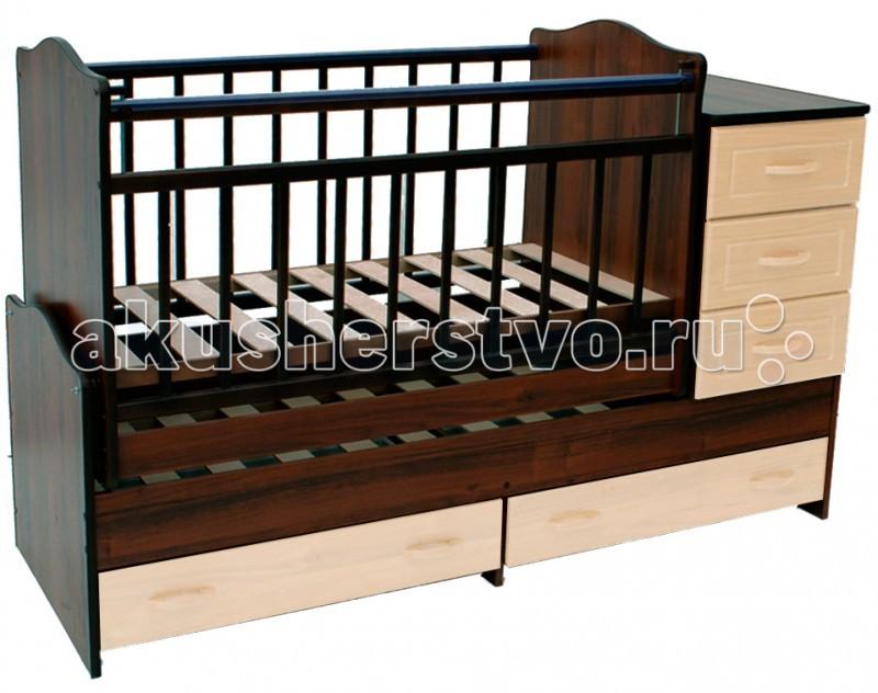 Кроватка-трансформер Ведрусс Раиса с комодом маятник поперечныйРаиса с комодом маятник поперечныйКроватка-трансформер Ведрусс Раиса с комодом маятник поперечный  Мебельная фабрика Ведрусс - это качественная и доступная детская мебель российского производства. Покупая кроватку-трансформер этой фирмы, вы приобретаете мебель, в которой ваш ребенок сможет спать с самого рождения и до 10-летнего возраста.   Достоинства детской кроватки-трансформера Ведрусс Раиса: Стандартная по длине детская кроватка легко модифицируется в подростковую, размеры которой составляют 175х60 см.  Модель представляет собой спальное место, объединенное с удобным комодом, состоящим из трех полок.  Для укачивания ребенка используется поперечный маятниковый механизм. Кроватка имеет классический лаконичный дизайн, который хорошо сочетается практически с любым интерьером.  Дно спального места можно регулировать по высоте, опуская его по мере того, как ваш малыш будет расти.  В нижней части кровати предусмотрены дополнительные ящики для хранения вещей или игрушек.  Съемный комод может также выполнять функции пеленального столика. А когда появится необходимость в удлинении, комод легко снимается и становится самостоятельным предметом интерьера.  Кровать-трансформер для детей от 0 до 10 лет.  Сначала размер 120х60, потом 160х60. Маятниковый механизм. Комод на 3 ящика + 2 ящика под кроватью.  Материал: массив + ДСП, фасад ламинированный, решетки - массив. 2 уровня подматрасника. Очень красивая и функциональная кровать.<br>
