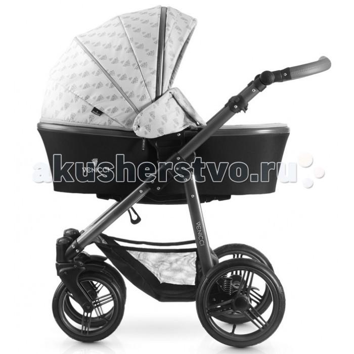 Коляска Venicci 3V 2 в 13V 2 в 1Коляска Venicci 3V 2 в 1 сочетает в себе универсальность, элегантность и современный европейский стиль.  Комплект 2 в 1 включает в себя шасси, спальный и прогулочный блоки с расширенным набором аксессуаров для коляски.   Отличительные особенности шасси коляски Venicci 3V: Легкая алюминиевая рама коляски выполнена в стильном цвете графит, а регулируемая в 4 положениях ручка (по высоте от 75 до 110 см) украшена эко-кожей с элегантной прострочкой. Шасси коляски быстро, легко и компактно складываются. Надувные бескамерные шины и мягкая подвеска (с регулировкой) на задних колесах обеспечат плавность хода. Передние поворотные колеса с возможностью фиксации. Колеса быстро снимаются по отдельности и также быстро снова устанавливается на раму. Удобный  ножной стояночный тормоз не пачкает обувь. Размеры шасси в сложенном виде (ВхШхД): с колесами: 31 х 61 х 82 см без колес: 26 х 50 х 81 см Размер колес: передние - 23 см, задние - 28 см Вес шасси: 8.9 кг Вес шасси без колес: 5 кг Отличительные особенности спального блока коляски Venicci 3V: Многофункциональная люлька предназначена для малышей от рождения до 6 месяцев (примерно до 9 кг) Снабжена системой CLICK-MODE – легкое отсоединение от шасси Имеет 3 положения дна, в том числе и полностью горизонтальное (для правильного развития органов дыхания новорожденного) Люлька выполнена из прочной ткани, устойчивой к атмосферным осадкам, а также имеет защиту от ультрафиолета (UPF 50+). Подкладка из нежного хлопка Бесшумно регулируемый в нескольких положениях капор XXL снабжен системой вентиляции, а также благодаря молниям может увеличиваться в размерах Мягкий матрасик в комплекте Люлька снабжена накидкой с магнитными заклепками, а благодаря специальной конструкции можно полностью закрыть отверстие внутри капора, тем самым обеспечив малышу полное уединение Внутренние размеры спального блока без капора (ВхШхД): 20 х 36 х 79 см. Вес: 4.4 кг Когда малыш подрастет, Вы можете начать использовать прогулочный бл