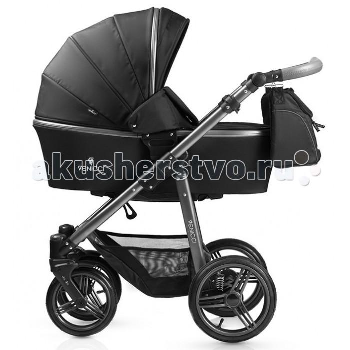 Коляска Venicci Carbo 2 в 1Carbo 2 в 1Коляска Venicci Carbo 2 в 1 сочетает в себе универсальность, элегантность и современный европейский стиль.  Комплект 2 в 1 включает в себя шасси, спальный и прогулочный блоки с расширенным набором аксессуаров для коляски.   Отличительные особенности шасси коляски Venicci Carbo: Легкая алюминиевая рама коляски выполнена в стильном цвете графит, а регулируемая в 4 положениях ручка (по высоте от 75 до 110 см) украшена эко-кожей с элегантной прострочкой. Шасси коляски быстро, легко и компактно складываются. Надувные бескамерные шины и мягкая подвеска (с регулировкой) на задних колесах обеспечат плавность хода. Передние поворотные колеса с возможностью фиксации. Колеса быстро снимаются по отдельности и также быстро снова устанавливается на раму. Удобный  ножной стояночный тормоз не пачкает обувь. Размеры шасси в сложенном виде (ВхШхД): с колесами: 31 х 61 х 82 см без колес: 26 х 50 х 81 см Размер колес: передние - 23 см, задние - 28 см Вес шасси: 8.9 кг Вес шасси без колес: 5 кг Отличительные особенности спального блока коляски Venicci Carbo: Многофункциональная люлька предназначена для малышей от рождения до 6 месяцев (примерно до 9 кг) Снабжена системой CLICK-MODE – легкое отсоединение от шасси Имеет 3 положения дна, в том числе и полностью горизонтальное (для правильного развития органов дыхания новорожденного) Люлька выполнена из прочной ткани, устойчивой к атмосферным осадкам, а также имеет защиту от ультрафиолета (UPF 50+). Подкладка из нежного хлопка Бесшумно регулируемый в нескольких положениях капор XXL снабжен системой вентиляции, а также благодаря молниям может увеличиваться в размерах Мягкий матрасик в комплекте Люлька снабжена накидкой с магнитными заклепками, а благодаря специальной конструкции можно полностью закрыть отверстие внутри капора, тем самым обеспечив малышу полное уединение Внутренние размеры спального блока без капора (ВхШхД): 20 х 36 х 79 см. Вес: 4.4 кг Когда малыш подрастет, Вы можете начать использовать