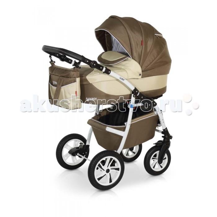 Коляска Verdi Lider 3 в 1Lider 3 в 1Коляска Verdi Lider 3 в 1 – многофункциональная коляска с возможностью установки просторного детского автокресла 0+.  Особенности: Люлька для младенца просторная и удобная, предназначена для малыша от рождения до 6-ти месяцев (87х39см!) Внутренние мягкие, натуральные ткани Внутреннее пространство люльки- вентилируемое Наполнитель матрасика легко пропускает воздух, подходит и для более чувствительных детишек Регулируемый наклон спинки Бесшумно складывающийся капюшон с дополнительным козырьком от дождя и ветра, карманом и смотровым окошком Люльку можно использовать как колыбельку для укачивания малыша; Специальные ткани верхнего защитного покрытия прекрасно защищают в плохую погоду, легко чистится Нижняя часть капора отстегивается позволяя малышу дышать свежим воздухом, а вставка из москитной сетки защитит от насекомых На капоре есть солнцезащитный козырек, который увеличивается, благодаря спрятанной силиконовой вставке На капоре имеется удобная ручка для переноски люльки Прогулочный блок: Широкое посадочное место (ширина 40 см!) Регулируемая спинка прогулочного блока (раскладывается до 175°) Окошко в капоре, прикрытое сеточкой (прекрасно пригодится в жаркий летний день) Верхнее покрытие коляски не пропускает влагу, легко очищается; Регулируемая подножка Съемный защитный бампер для рук ребенка Накидка на ножки с высоким бортом Пятиточечные ремни безопасности Удобная ручка для переноски Шасси: Легкая алюминиевая рама; Колеса надувные; Передние колеса коляски легко вращаются на 360°; 2 положения подвески: мягкое - для новорожденного (ребенка можно качать) или жесткое, более спортивное - для прогулок по дорожкам в парке; Регулируемая по высоте ручка; Вместительная багажная корзина Автокресло: люлька-переноска, группа 0+ (0-13 кг) тканевая люлька с жестким дном   удобная ручка для переноски, расположенная  на капюшоне  бесшумный механизм регулировки капюшона  внутренняя вкладка выполнена из 100% хлопка, легко снимается для стирки;  матр