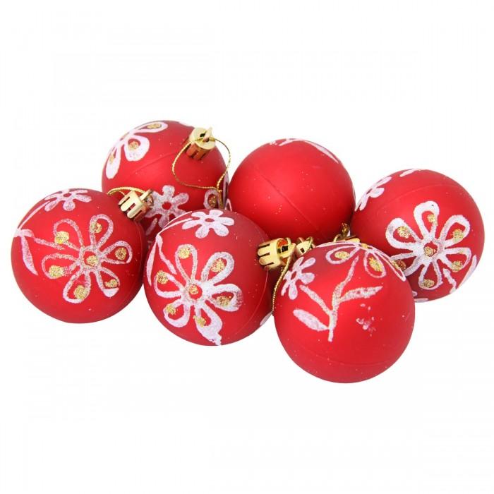 Елочные игрушки Веселый хоровод Набор ёлочных пластиковых шаров с рисунком Цветы 6 см шт.
