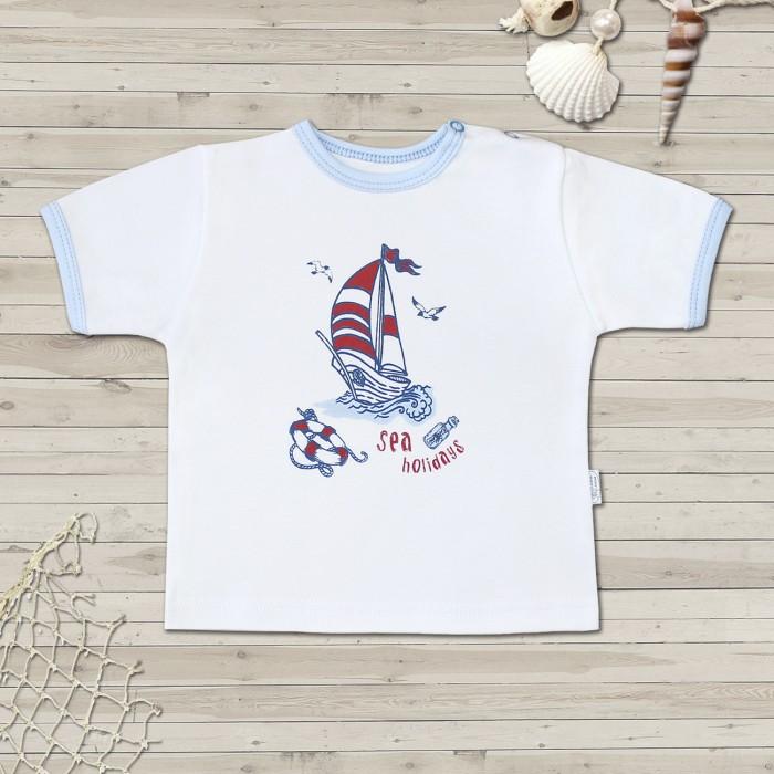 Футболки и топы Веселый малыш Футболка для девочки Морская 67322/мор/ футболка для девочки веселый малыш спелая вишня цвет белый красный 67322 св e 1 размер 80