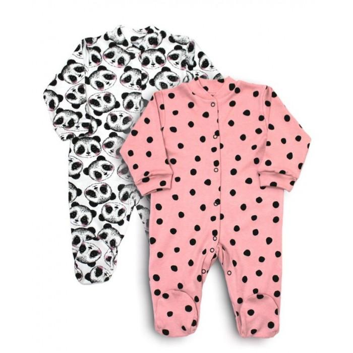Купить Боди, песочники, комбинезоны, Веселый малыш Комбинезон с воротничком-стойкой Милая панда 2 шт.