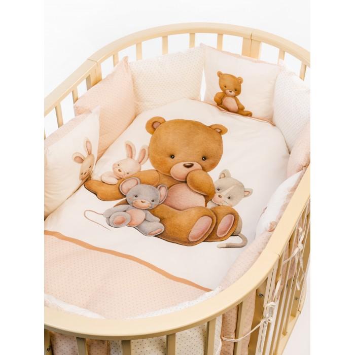 Комплект в кроватку Vikalex Мишкина Компания горох для овальной кроватки (6 предметов) VI6003/2