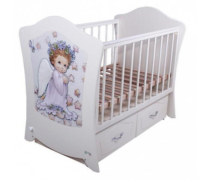 Детская кроватка Vikalex Simphony (маятник поперечный)Детские кроватки<br>Удобная и функциональная детская кроватка Vikalex Simphony предназначена для новорожденных детей и используется до 3-4 лет.   Изготовлена на современном оборудовании из качественных материалов, что обеспечивает прочность и долговечность. Высокое качество отделки. Для окраски применяются лаки, не содержащие вредных для здоровья ребенка веществ. Украшает кроватку декоративная вставка на спинке.  Характеристики: Основание реечное регулируется по высоте Реечные панели по бокам не препятствуют естественной вентиляции. Безопасное расстояние между рейками 85 мм. Размер спального места стандартный 120х60, что позволяет легко подбирать постельное белье и матрасы для ребенка Кровать оснащена маятниковым механизмом поперечного качания Фиксатор маятника Передняя стенка опускаемая Отсутствие выступающих углов и неровностей, что обеспечивает безопасность для малыша Выдвижные ящики закрытого типа для удобства хранения детских вещей, постельных принадлежностей, памперсов или игрушек  На спинке кроватки декоративная вставка - ангелочек  Размер 127х77х105 см.