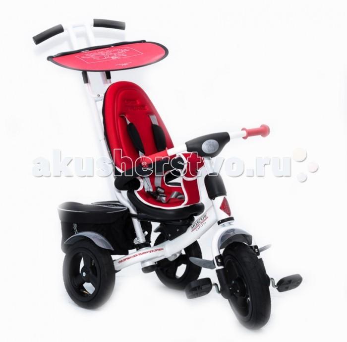 """Велосипед трехколесный Vip Toys Luxe CityLuxe CityМодель Luxe City является самой лучшей, современной  и комфортной  моделью, которая подойдет абсолютно всем детям (от 8 месяцев до 4.5 лет) и их родителям. Преимущества неоспоримы: высокая спинка для самых маленьких детей (от 8 месяцев), сидение полностью мягкое, защитные крылья, надувные колеса, подножка на передней вилке и многое другое. Дизайнеры и инженеры сделали не возможное, возможным.   Изображением гербов столиц европейских государств: Москвы, Парижа, Берлина, Лондона и Милана и дополнение цветами флагов, подчеркивает свою уникальность и эксклюзивность велосипеда! Такой дизайн, выделит велосипед и без сомнения не оставит равнодушным никого.  Новое удобное эргономичное сидение для детей от 8 месяцев  с мягким чехлом, который обретает форму тела вашего малыша. Данный чехол выполнен из полностью  гипоаллегенного материала,  спинка съемная, изготовлена  из пластика, крепится и снимается к сиденью одним движением Сидение регулируется в 3 положениях вперед-назад по горизонтали по мере роста малыша Сиденье можно установить в 2-х положениях: """"лицом к дороге"""" и """"лицом к маме"""". Рама велосипеда металлическая, изготовлена из высокопрочной, углеродистой стали что позволяет выдерживать нагрузку до 120 килограмм. Качественное многослойное покрытие краской с перламутровым отливом обеспечивает безупречный вид и стойкость к воздействию окружающей среды на долгие годы. Защитный тент-козырек позволяет защитить малыша от попадания прямых солнечных лучей, благодаря регулировке в нескольких положениях. Козырек изготовлен из самых современных материалов. Колеса надувные изготовлены из плотной резины с протектором, широкие, мягкие, тихие и бесшумные. Они очень тихие на любом покрытии, даже на песке вы сможете легко проехать, так что ваш ребенок не проснется. Наши покрышки с подшипниками на всех колесах прекрасно амортизируют и не позволяют травмировать опорно-двигательный аппарат вашего малыша. Родительская ручка, управляет передним"""