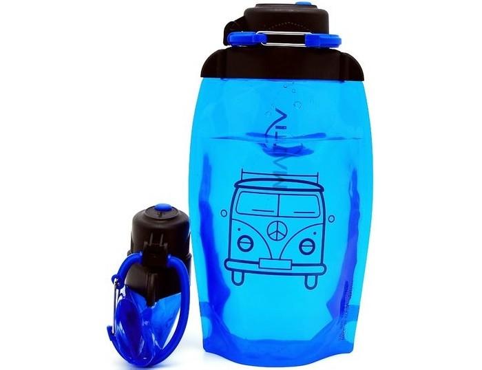 Vitdam Складная эко бутылка с карабином Автобус 500 мл