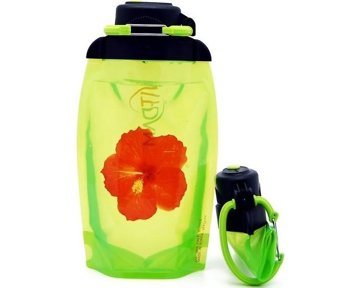 Vitdam Складная эко бутылка с карабином Цветок 500 мл