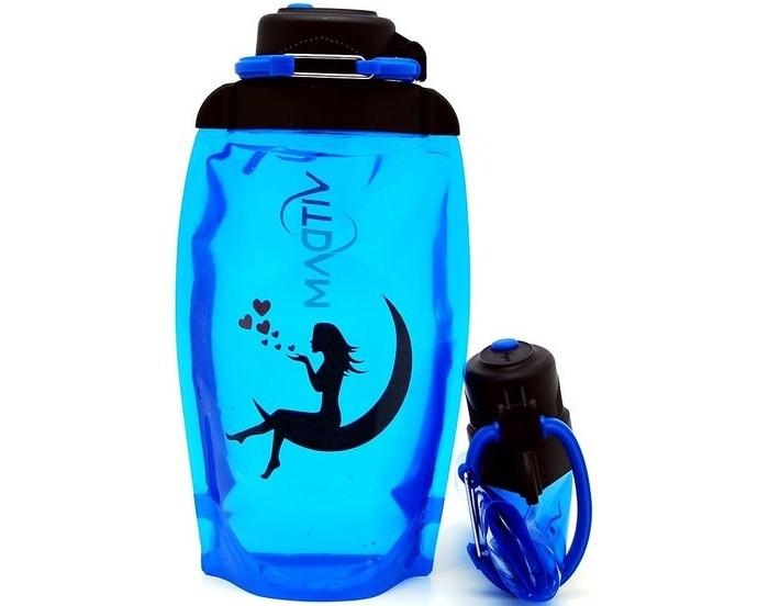 Vitdam Складная эко бутылка с карабином Девушка на луне 500 мл