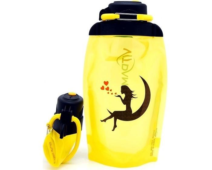 Бутылки для воды Vitdam Складная эко бутылка с карабином Девушка на луне 500 мл