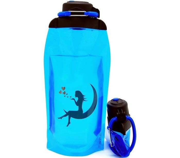 Vitdam Складная эко бутылка с карабином Девушка на луне 860 мл