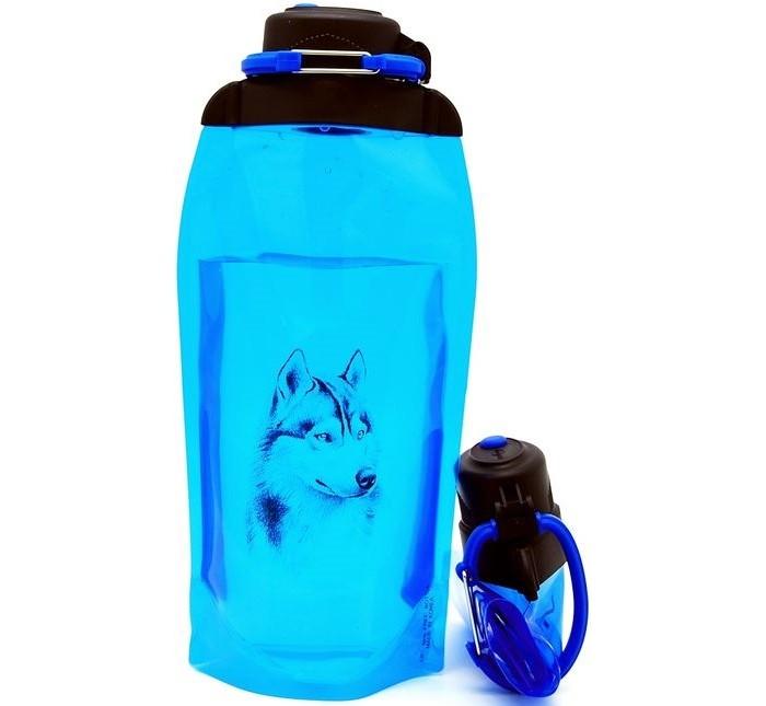 Vitdam Складная эко бутылка с карабином Хаски 860 мл