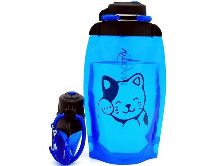 Vitdam Складная эко бутылка с карабином Кошечка 500 мл