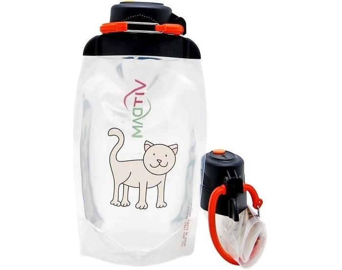 Vitdam Складная эко бутылка с карабином Кошка 500 мл