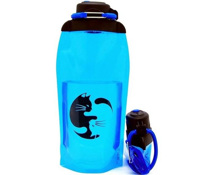 Vitdam Складная эко бутылка с карабином Кошки 860 мл