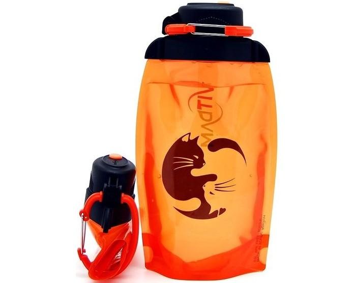 Vitdam Складная эко бутылка с карабином Кошки Инь-Янь 500 мл