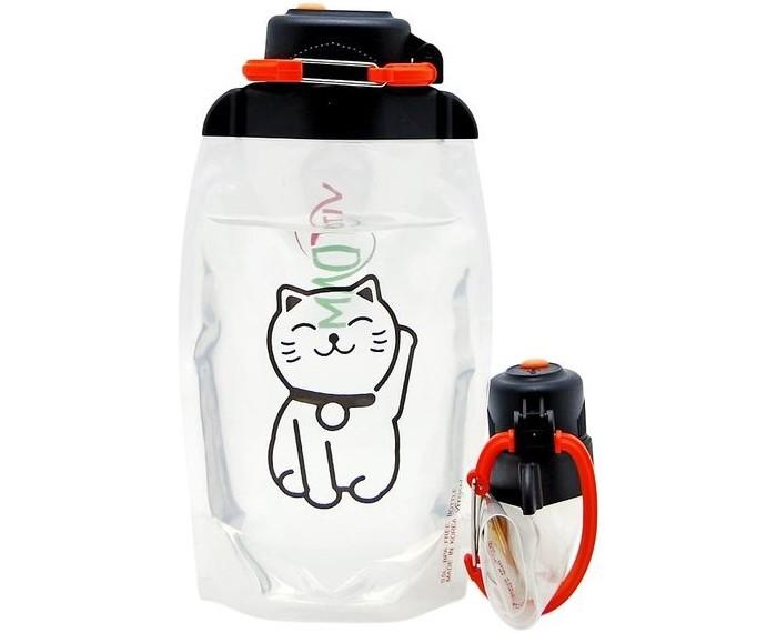 Vitdam Складная эко бутылка с карабином Котейка 500 мл
