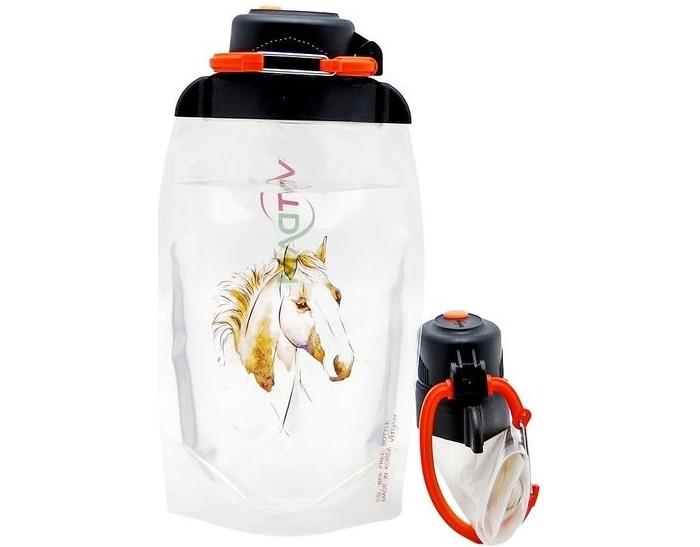 Vitdam Складная эко бутылка с карабином Панда улыбается 860 мл