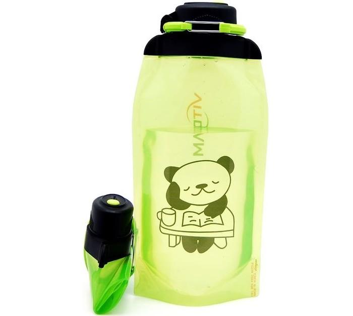 Vitdam Складная эко бутылка с карабином Панда улыбается 500 мл