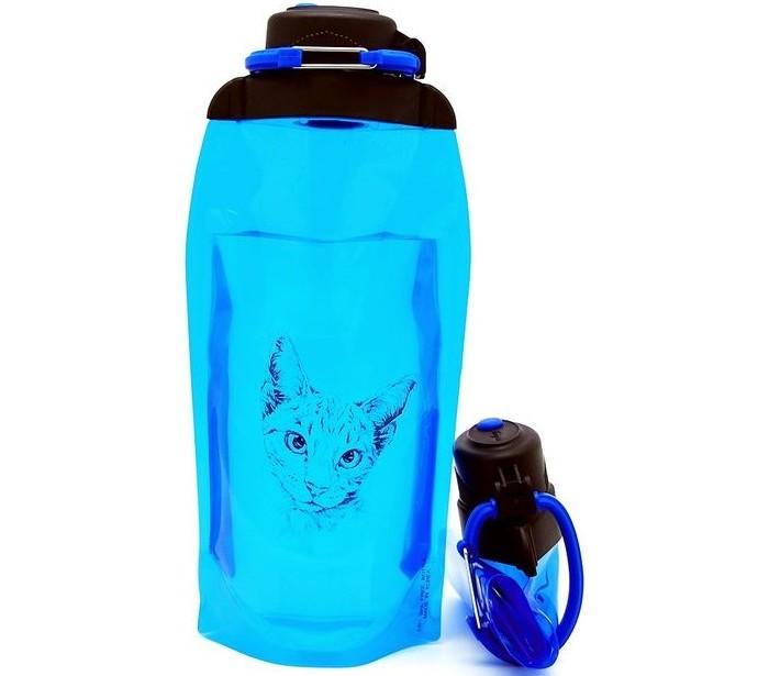 Vitdam Складная эко бутылка с карабином Очаровательная кошка 860 мл