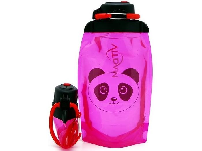Vitdam Складная эко бутылка с карабином Панда 500 мл