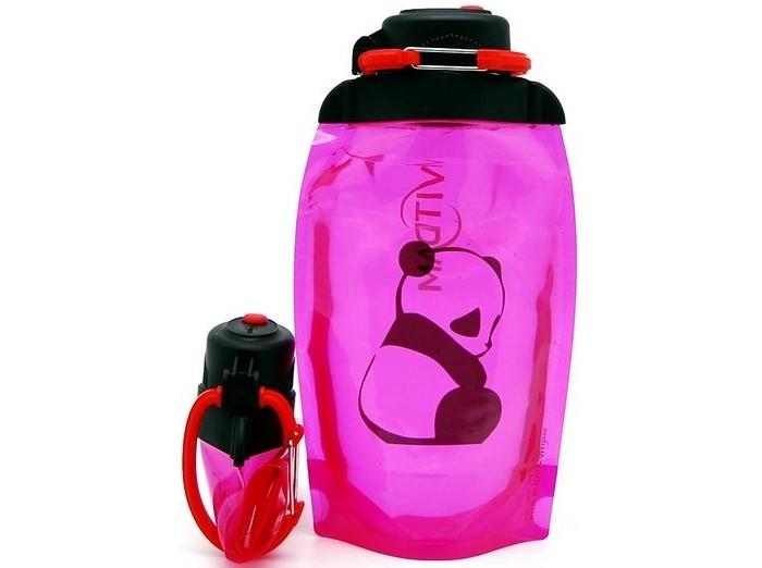 Vitdam Складная эко бутылка с карабином Кот с зонтом 500 мл