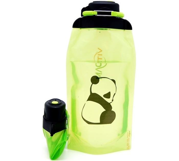 Vitdam Складная эко бутылка с карабином Панда 860 мл