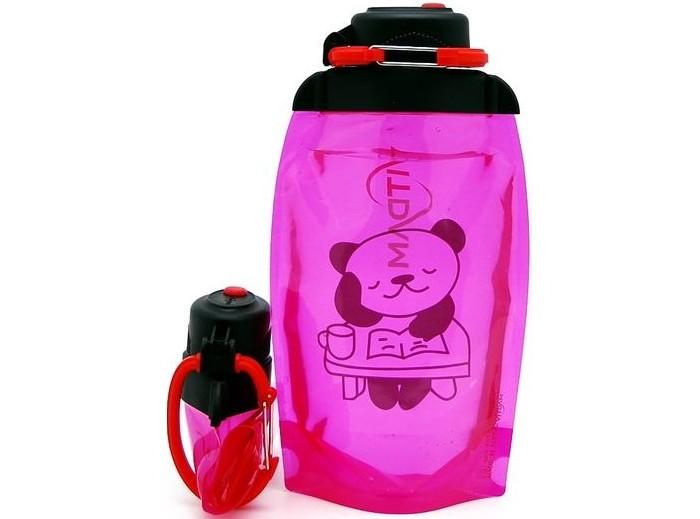 Vitdam Складная эко бутылка с карабином Панда за столом 500 мл
