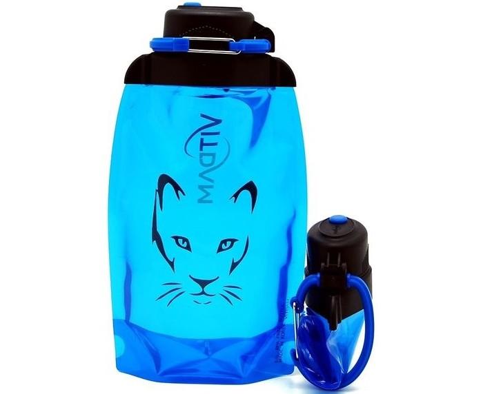Бутылки для воды Vitdam Складная эко бутылка с карабином Пума 500 мл