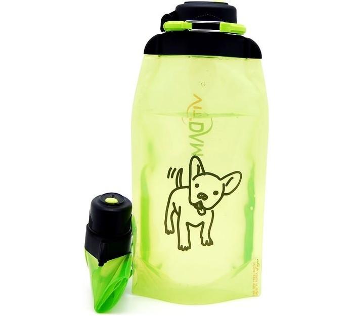 Vitdam Складная эко бутылка с карабином Щенок 860 мл