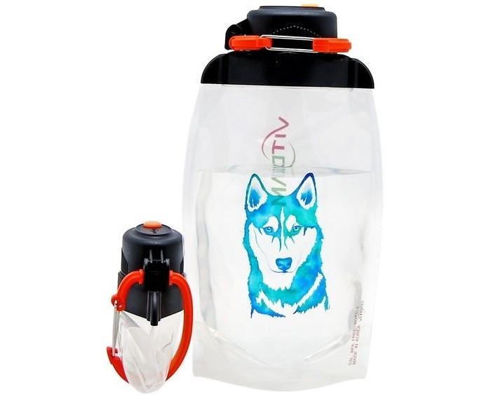 Vitdam Складная эко бутылка с карабином Без рисунка 860 мл