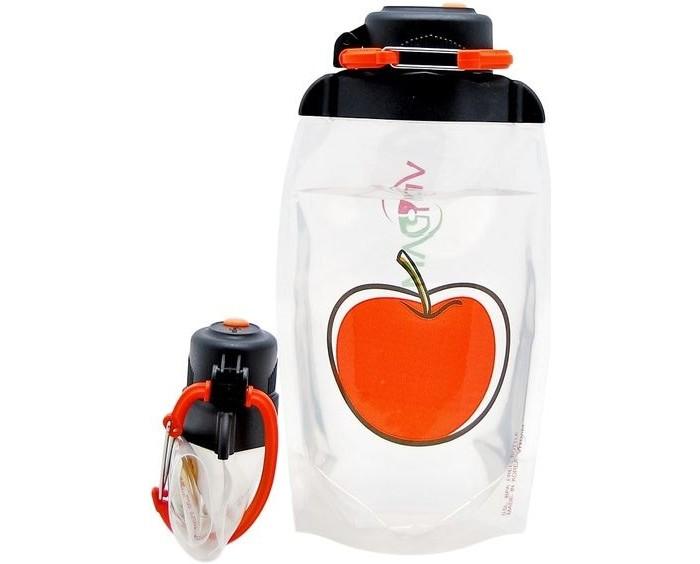 Vitdam Складная эко бутылка с карабином Яблоко 500 мл