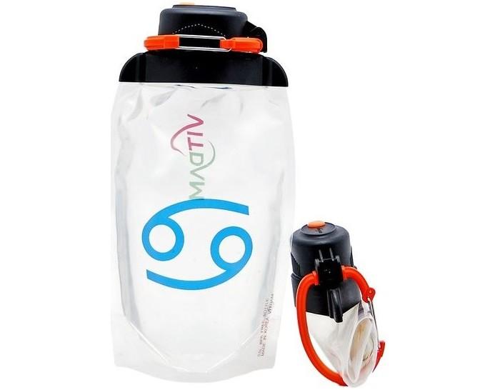 Vitdam Складная эко бутылка с карабином Машина 500 мл