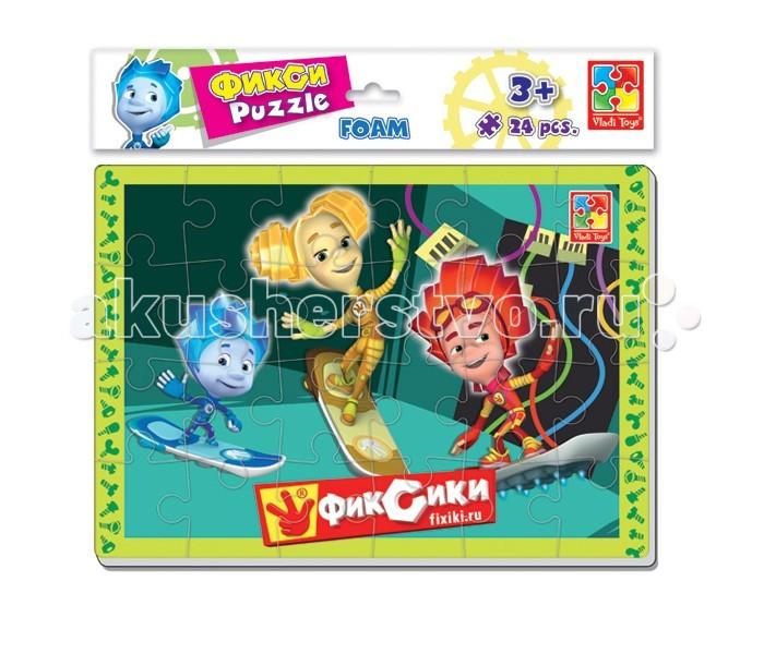 Пазлы Vladi toys Мягкие пазлы А4 Фиксики 24 элемента павлин мягкие пазлы