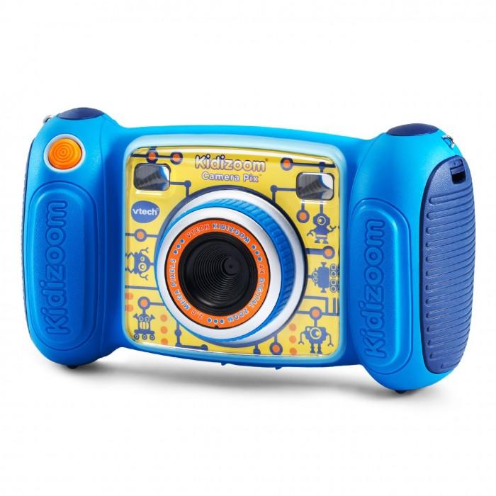 Развивающая игрушка Vtech Цифровая камера Kidizoom PixЦифровая камера Kidizoom PixVtech Цифровая камера Kidizoom Pix уникальное устройство, разработанное для детей старше 3 лет.   С таким фотоаппаратом ребенок сможет снимать фото и видео, а затем редактировать их смешными эффектами. Используя детский интерактивный фотоаппарат, ребенок сможет снимать и в режиме селфи. Кроме этого, снимая фотографии на фотоаппарат Kidizoom Pix, ребенок сможет создать собственную анимацию, а также записывать голос в нескольких режимах и поиграть в одну из 4 игр, записанных на память устройства.  Разрешение детской камеры - 1.3 Мп, также ребенок сможет воспользоваться функцией 4 кратного зума. У камеры есть встроенная память, равная 128 Мб, а также отверстия для дополнительных карт micro SD / SDHS. В комплекте с камерой есть USB-кабель, чтобы ребенок мог перенести фотографии на компьютер, браслет для удобной транспортировки игрушки и инструкция с подробным описанием всех функций.  Возраст: от 3 лет Комплект: камера, USB кабель, браслет Тип батареек: 4 х AA /LR6 1.5 V (пальчиковые) Разрешение: 1.3 Мп Зум: 4 кратный Память: 128 МБ, слот для microSD/SDHC карт Дисплей: 1.8 (цветной).<br>
