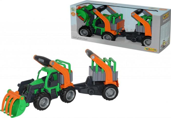 Машины Wader ГрипТрак трактор-погрузчик с полуприцепом для животных мусоровоз wader гриптрак 37459 28 5 см