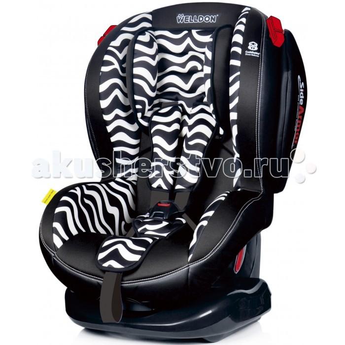 Автокресло Welldon Royal Baby SideArmor &amp; CuddleMeRoyal Baby SideArmor &amp; CuddleMeДетское автокресло Royal Baby SideArmor & CuddleMe предназначено для детей группы 1-2 (9-25 кг) примерно до 7 лет. Кресло изготовлено их высококачественных материалов, обеспечивающих комфорт и безопасность во время поездки. Спинка имеет 5 положений, что позволяет выбрать самый оптимальный вариант для сна.  Благодаря усиленной боковой защите Side Armor боковые подушки защищают голову ребенка от бокового удара. Цельнолитой корпус сидения, что отлично способствует защите от травм при ударе.   Дополнительная вставка Cuddle Me расположена под чехлом, выполнена в анатомической форме и предназначена для дополнительного энергопоглощения от возможного удара, а так же дополнительной вентиляции.  Особенности:  дополнительная боковая усиленная защита SideArmor энергопоглощающий вкладыш Cuddle Me смягчает удар в случае столкновения направляющие для ремней безопасности цельнолитой корпус сидения удобная спинка, обеспечивающая правильную осанку и высокую степень защиты маленького пассажира  5 положений наклона кресла (чаша кресла изменяет угол наклона относительно основания) регулируемый по высоте подголовник (мягкая подушечка) внутренние 5-точечные ремни безопасности регулируемые по высоте 5-точечные ремни (4 положения)  съемный чехол можно стирать при температуре 30 градусов  Автокресло соответствует нормам по безопасности для детских автомобильных кресел ECE R44/04.  Крепление:  автокресло крепится в автомобиле с помощью штатных ремней безопасности автокресло устанавливается по ходу движения автомобиля возможность установки на заднем и переднем сидении автомобиля при отсутствии подушки безопасности   Размеры и вес автокресла: Размеры (ШxГxВ): 39x48x65 см Вес: 6 кг<br>