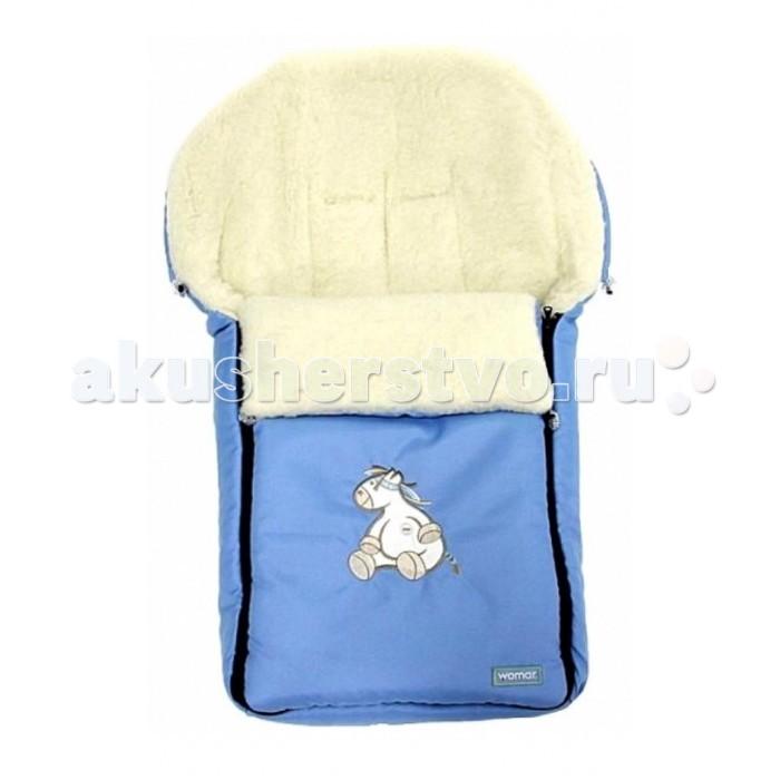 Зимний конверт Womar AuroraAuroraВ более прохладные дни незаменимым станет спальный мешок к коляске. Овечья шерсть гарантирует вашему ребенку комфорт во время путешествия. Универсальный образец спального мешка подходит к большинству доступных колясок на рынке. Практичный замок позволяет легко и быстро уложить ребенка внутри спального мешка. Верхнюю часть спального мешка можно отстегнуть и использовать другое покрытие.   Овечья шерсть - продукт натуральный и экологичный. Имеет множество оздоровительных особенностей, поэтому используется в производстве одежды и постелей. Овечья шерсть используемая в спальных мешках имеет сертификат WOOLMARK EXCELLENCE IN WOOL выданный The Woolmark Company и соответствует всем стандартам качества для шерстяных товаров.   Натуральный терморегулятор - одним из наиболее уникальных достоинств овечьей шерсти является тот факт, что в контакте с человеческим организмом она максимально нагревается до температуры + 36.6 °C , то есть до нашей стабильной температуры тела. И, что самое главное, удерживает ее на стабильном уровне, несмотря на окружающие условия, даже при очень низких температурах.  Термоизолятор - шерстяные изделия предупреждают переохлаждение зимой или перегреванию организма в более теплые дни.  Гидроскопичность - шерсть в силе впитать очень большое количество потовыделений и не отдает их обратно в контакте с телом. Только во время проветривания овечье руно отдает впитанную воду и запах, из-за чего постоянно сохраняет свою свежесть.  Водонепроницаемость - шерсть не пропускает влажности снаружи.  Изделие гипоалергенное - овечья шерсть особенно рекомендуется аллергикам. Благодаря ланолину, шерсть не впитывает пыли и влажности снаружи и представляет собой неприязненную среду для бактерий.  Оздоровительные свойства - с давних пор известно, что шерсть имеет мощные оздоровительные особенности. - Идеальное решение от ревматизма, благоприятствует постравматичной рэконвалесценции, смягчает невралгии, боли суставов и конечностей.  Размеры: 