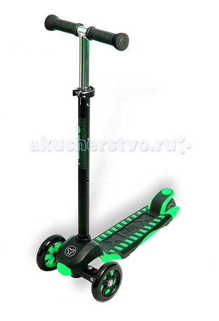 Трехколесный самокат Y-Bike Glider XL Maxi DeluxeGlider XL Maxi DeluxeСамокат Y Bike Glider XL Maxi Deluxe Такая же запатентованная система управления,что у Glider Mini, но для детей постарше - от 5 лет.Поэтому он-MAXI.Уникальная особенность и отличие от аналогов-силиконовое широкое заднее колесо, обеспечивающее повышенную устойчивость и облегчающее управление.Ручка меняется по высоте.  Алюминиевая рама-очень легкая и эргономичная.Ручка сверху покрыта очень новомодным покрытием- черный матовый сатин.Гибкая подножка сделана из мягкого пластика,усиленного стекловолокном,тем самым исключая риск травмирования ребенка об нее.А прорезиненная поверхность не даст детской ножке соскользнуть с платформы самоката.  Особенности: Передние колеса-литой каучук,заднее-силикон PU. Диаметр колес:передние &#8709;120 мм, заднее &#8709;100 мм Подшипники:АВЕС  Задний тормоз. Максимальная высота ручки: 89 см Минимальная высота ручки: 57,5 см Платформа 35 х 13см  Нагрузка:40 кг  Очень приятно, что инженеры компании Y-BIKE придумали Glider MAXI- самокат для детей постарше. Потому что они узнали, что дети не хотели расставаться c Glider MINI.Они сохранили стиль и технологию как у Glider MINI. При этом сделали самокат прочнее, с максимальной нагрузкой-50кг. Высота ручки регулируется под любой рост ребенка.<br>