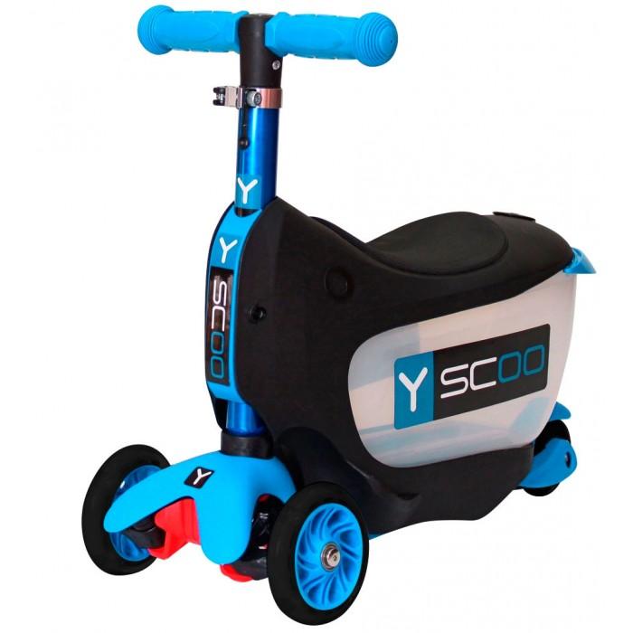 Трехколесный самокат Y-Scoo Mini Jump&amp;Go 3 в 1Mini Jump&amp;Go 3 в 1Самокат Y-Scoo Mini Jump&Go 3 в 1 покорит Вас своим функционалом.   Особенности: 3 функции в одном: каталка с багажником для игрушек, каталка без багажника, самокат с регулируемым по высоте рулем.  Полупрозрачный корпус багажной корзинки поможет малышу наблюдать за своим ценным багажом.  Для того чтобы выдвигать багажную корзинку, создана очень удобная, специальная пластиковая ручка- хват.  Несмотря на наличие багажной корзинки, трансформер каталка- самокат - очень легкий.  На корпусе каталки есть подножки по бокам для того, чтобы малыш мог поставить ножки.  Мягкое анатомически продуманное сиденье создаст комфорт в поездке.  Настоящий компас на руле удивит юного водителя и поможет ему выбрать правильный путь.  Ручка самоката имеет красивое переливающееся покрытие. Это цветное покрытие сделано способом анодирование – процессом специальной обработки для создания дополнительного слоя защиты металла и для яркого впечатления. Анодный слой помогает предотвратить коррозию, добавляет твердость поверхности металла. Выглядит такая ручка очень нарядно.  Пластиковые детали каталки - самоката изготовлены по самым современным технологиям и имеют красивую матовую поверхность. Очень легкие и прочные.  С помощью прочного стального эксцентрика руль меняется по высоте. Благодаря изменению высоты ручки, ребенок будет дольше пользоваться самокатом. Ручка съемная - очень простой и надежный механизм.  Ручки на руле - резиновые, с добавлением латекса- очень мягкие и приятные для нежных детских рук.  Гибкая подножка самоката сделана из мягкого пластика, усиленного стекловолокном.  Рисунок поверхности платформы - мелкий горошек. Благодаря этому, ножки ребенка не будут соскальзывать с самоката.  Управлять этим самокатом малыш сможет легко и непринужденно, наклоняя ручку влево или вправо при поворотах, благодаря уникальной запатентованной системе управления.  Единственная в мире технология двойных передних колес создана сп