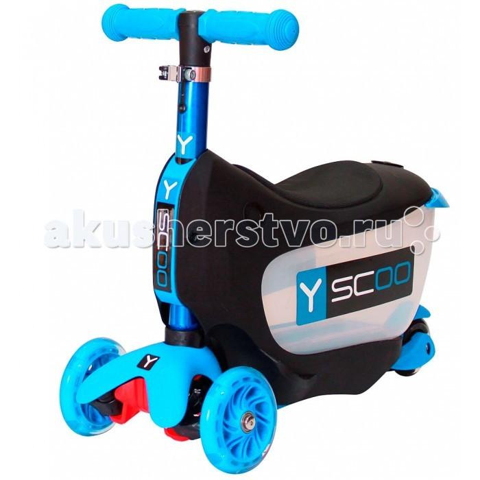 Трехколесный самокат Y-Scoo Mini Jump&amp;Go 3 в 1 со светящимися колесамиMini Jump&amp;Go 3 в 1 со светящимися колесамиСамокат Y-Scoo Mini Jump&Go 3 в 1 со светящимися колесами покорит Вас своим функционалом.   Особенности: 3 функции в одном: каталка с багажником для игрушек, каталка без багажника, самокат с регулируемым по высоте рулем.  Полупрозрачный корпус багажной корзинки поможет малышу наблюдать за своим ценным багажом.  Для того чтобы выдвигать багажную корзинку, создана очень удобная, специальная пластиковая ручка- хват.  Несмотря на наличие багажной корзинки, трансформер каталка- самокат - очень легкий.  На корпусе каталки есть подножки по бокам для того, чтобы малыш мог поставить ножки.  Мягкое анатомически продуманное сиденье создаст комфорт в поездке.  Настоящий компас на руле удивит юного водителя и поможет ему выбрать правильный путь.  Ручка самоката имеет красивое переливающееся покрытие. Это цветное покрытие сделано способом анодирование – процессом специальной обработки для создания дополнительного слоя защиты металла и для яркого впечатления. Анодный слой помогает предотвратить коррозию, добавляет твердость поверхности металла. Выглядит такая ручка очень нарядно.  Пластиковые детали каталки - самоката изготовлены по самым современным технологиям и имеют красивую матовую поверхность. Очень легкие и прочные.  С помощью прочного стального эксцентрика руль меняется по высоте. Благодаря изменению высоты ручки, ребенок будет дольше пользоваться самокатом. Ручка съемная - очень простой и надежный механизм.  Ручки на руле - резиновые, с добавлением латекса- очень мягкие и приятные для нежных детских рук.  Гибкая подножка самоката сделана из мягкого пластика, усиленного стекловолокном.  Рисунок поверхности платформы - мелкий горошек. Благодаря этому, ножки ребенка не будут соскальзывать с самоката.  Управлять этим самокатом малыш сможет легко и непринужденно, наклоняя ручку влево или вправо при поворотах, благодаря уникальной запатентованной системе управ
