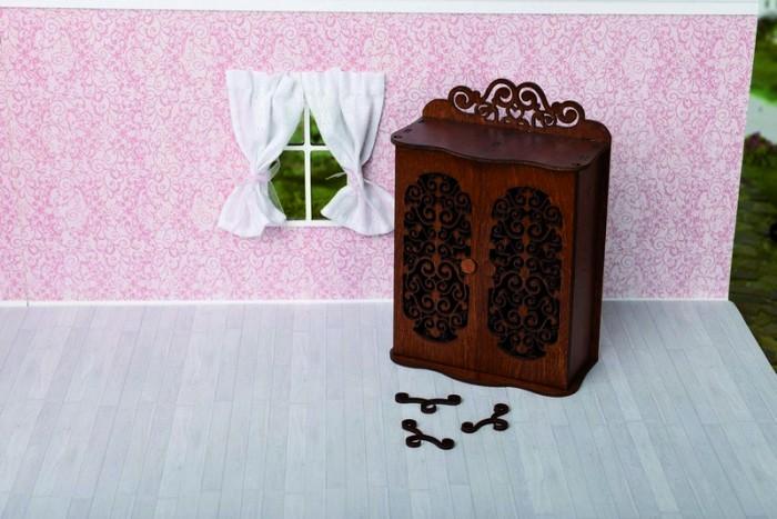 Кукольные домики и мебель ЯиГрушка Шкаф для спальни с двумя дверцами и тремя вешалками для спальни