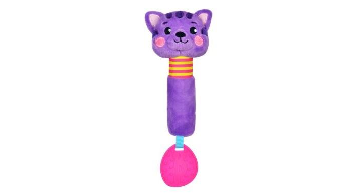Прорезыватели Жирафики Пищалка с силиконовым прорезывателем Котик жирафики развивающая игрушка мишка с силиконовым прорезывателем