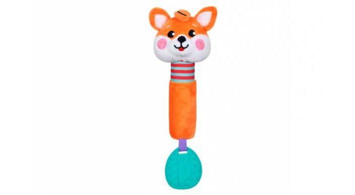Прорезыватели Жирафики Пищалка с силиконовым прорезывателем Лисенок жирафики развивающая игрушка мишка с силиконовым прорезывателем