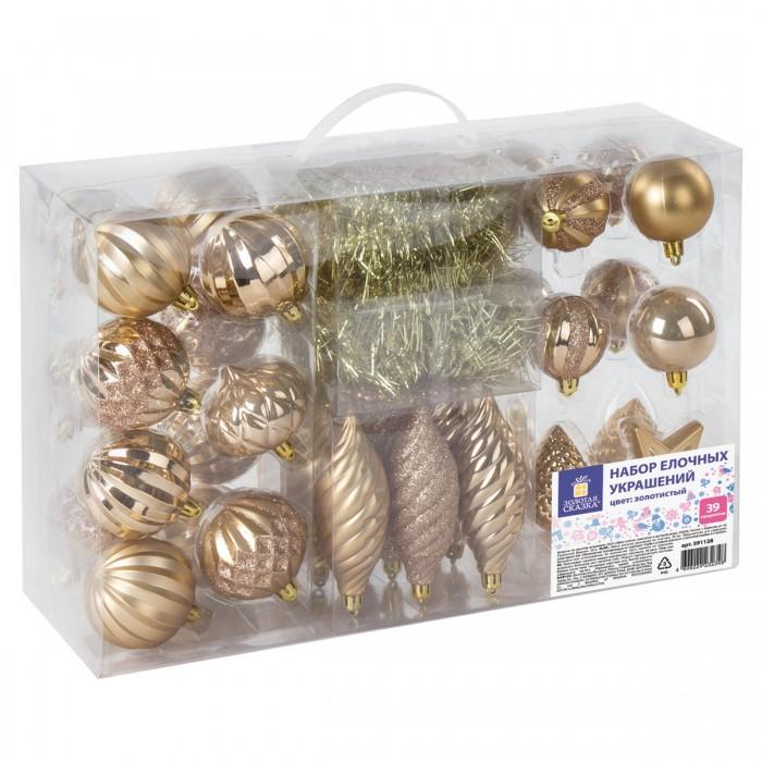 Картинка для Елочные игрушки Золотая сказка Набор новогодних украшений для ели (39 предметов)