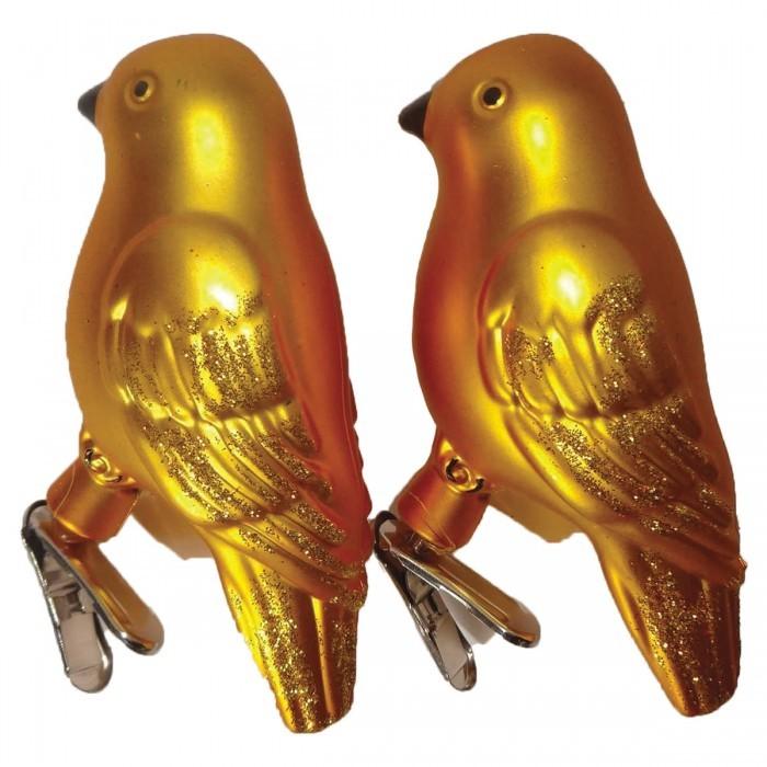 Картинка для Елочные игрушки Золотая сказка Украшения елочные Птичка 8 см 2 шт.